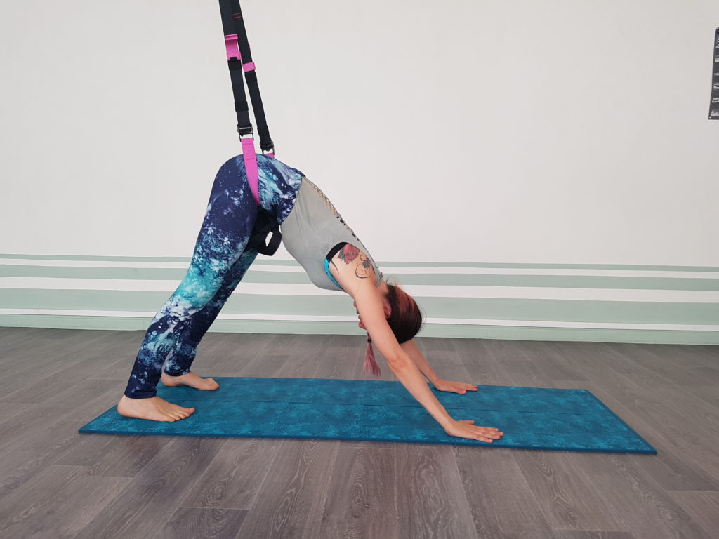chien tete en bas yoga suspension